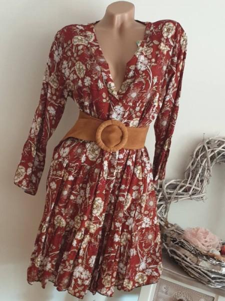 Neu rostrot floral Tunika Kleid 36 38 40 40/42 Hängerchen Viskose