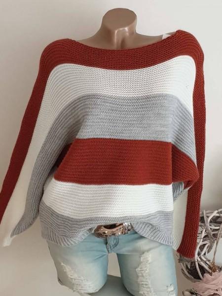 Pullover Oversized rost weiss grau gestreift Fledermausarm 36 38 40 Pulli