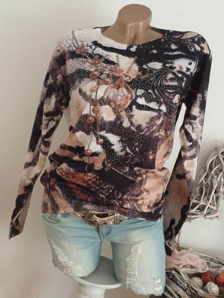 MISSY Feinstrick Pulli Pullover S/M 36 38 braun/beige gemustert neue Kollektion