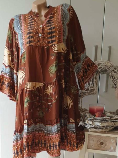 Kleid 40 42 44 braun gemusterte Tunika Viskose Hängerchen