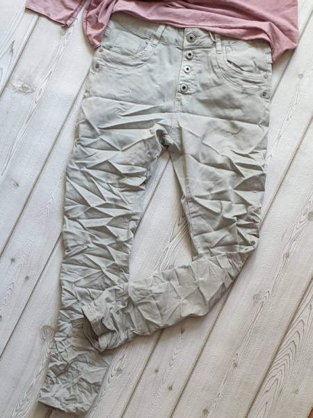 Jeans Hose KAROSTAR grau S 36 Sommerhose stretch Knopfleiste