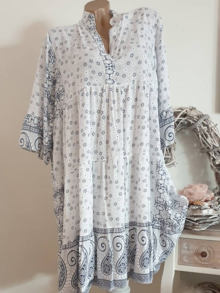 Tunika Kleid 42 44 46 weiss blau gemustert Hängerchen Viskose