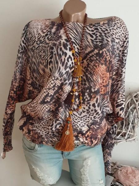 Tunika 38 40 42 Pulli Pullover Leopard Animal Print Fledermausarm Feinstrick