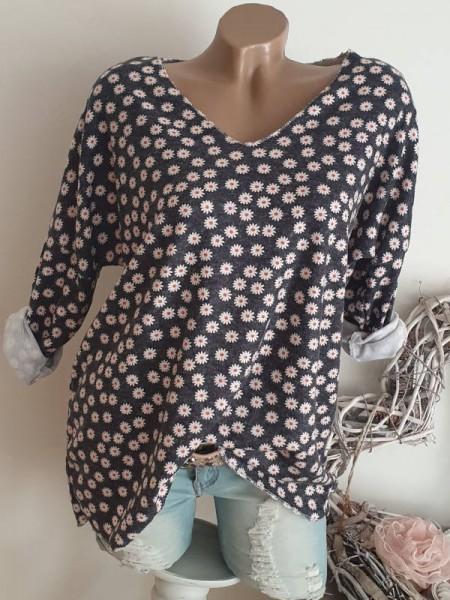 Tunika antrazit mit Blümchen 40 42 44 Feinstrick Pulli Shirt Lurex Pullover