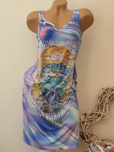 Stretch Kleid S 36 tiefe Taille Glitzer Lila Gold MISSY Tunnelzug ärmellos