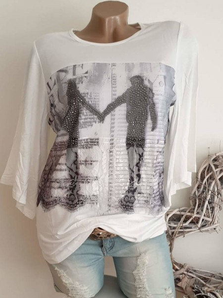MISSY Shirt M 38 Tunika Pärchenmotiv Glitzer weite Ärmel vorne etwas Tüll