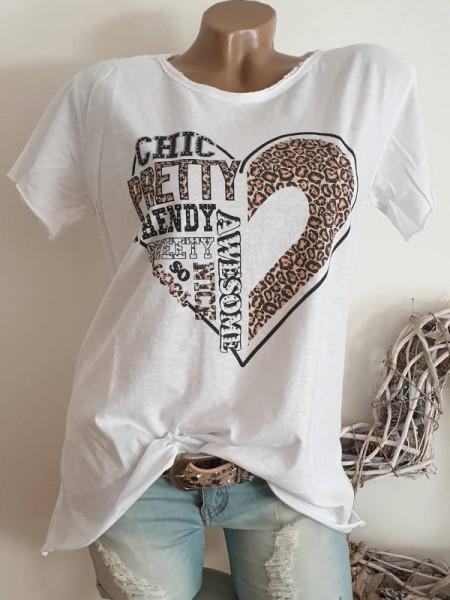 40 42 44 Tunika Herz Leo S-Shirt Shirt bunt Glitzer Nieten unfinished weiss