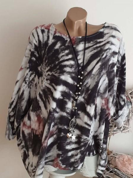 Batik Print weites Oversized Italy Tunika Shirt weiss schwarz 44 46 48 NEU