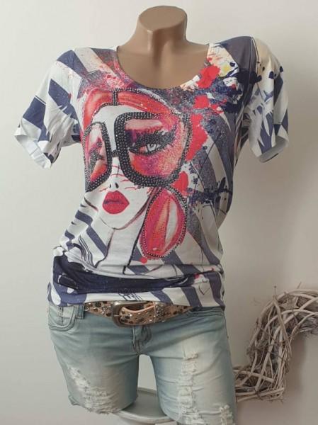 M 38 MISSY T-Shirt Frau mit Brille bunter Print Shirt Strass Nieten Neu