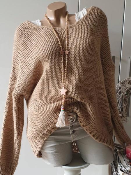 beigebraun oversized Grobstrick Knit Pullover 38 40 42 44 Pulli Ärmel überschnitten
