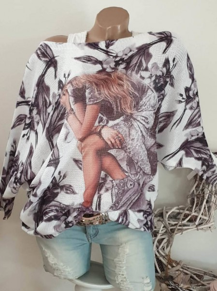 40 42 44 Fashion Motiv Feinstrick Fledermausarm Pullover Tunika 3/4 Pulii NEU