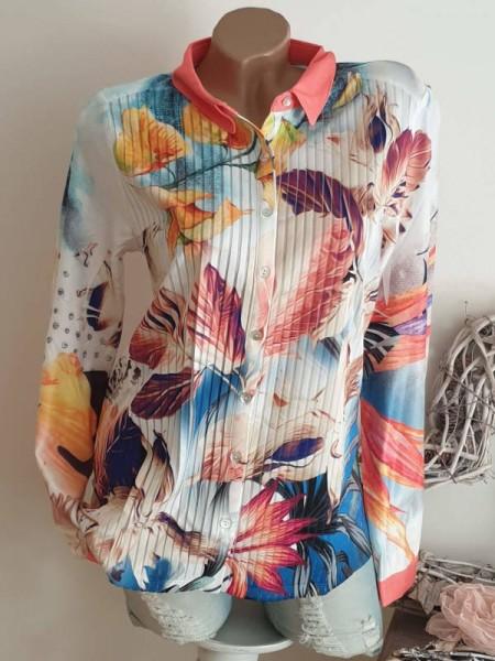 MISSY Bluse Hemdbluse S 36 Plissee Plisseebluse durchgehende Knopfleiste NEU
