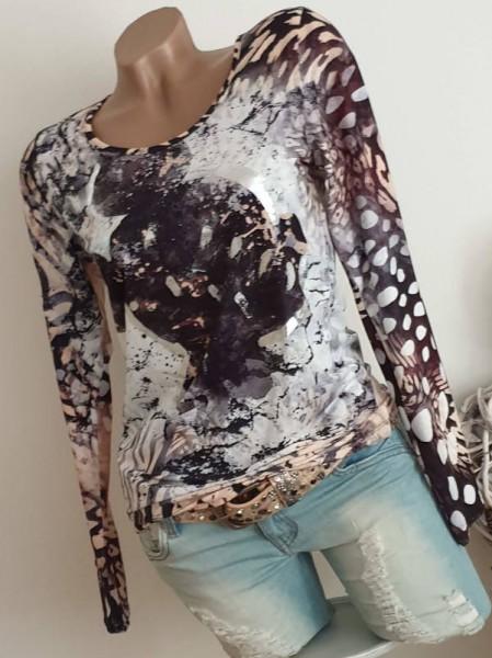 MISSY Langarmshirt XL 42 Shirt Longsleeve neue Kollektion Mouse Silber Print