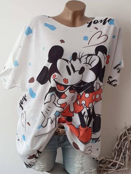 Kurzarm Shirt Tunika weiss Mouse Print 40 42 44 Feinstrick Lurex hinten länger