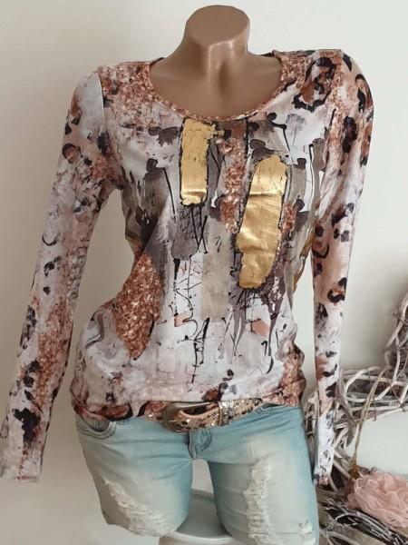 MISSY Langarmshirt Shirt S 36 bunt Gold Print Longsleeve NEU