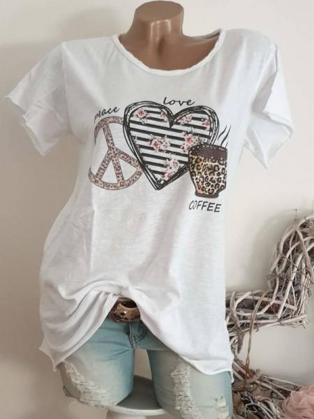 T-Shirt Shirt 38 40 42 Tunika Peace Herz Kaffee Glitzer Nieten unfinished