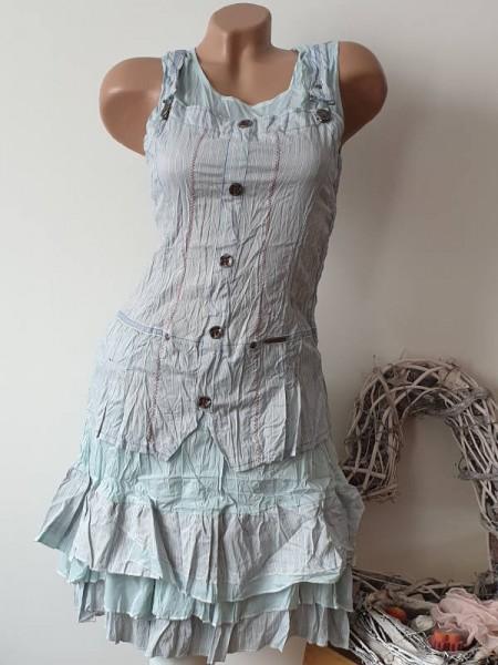 Empirekleid 36 Neu ärmelloses Kleid Crashoptik pastellblau Französische Mode