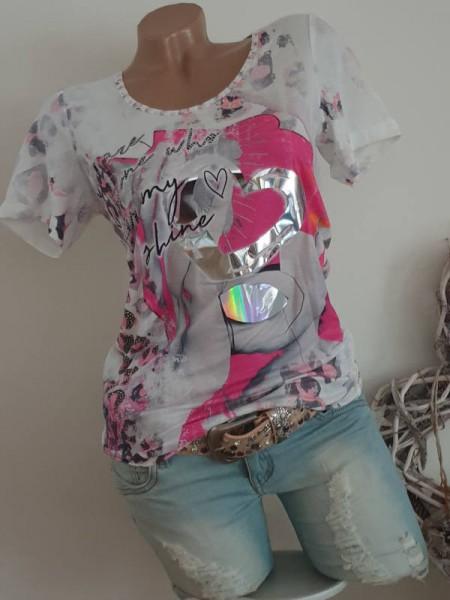 MISSY T-Shirt L 40 Shirt pink weiss Metallicprint silber NEU