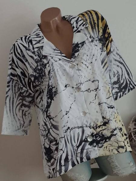 MISSY Knopfleiste weiss L 40 Mouse Tunika Bluse Hemdbluse hinten länger Glitzer