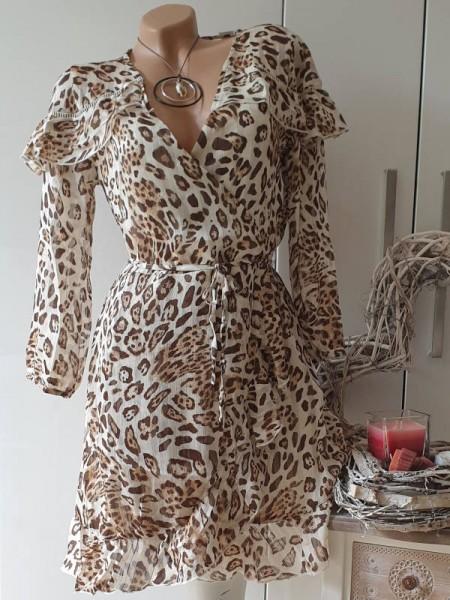 38 Neu Empire Tunika Kleid Chiffonkleid Leo braun beige gerüscht unterfüttert
