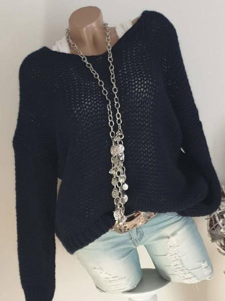 Pullover 40 42 44 dunkelblau oversized Grobstrick Knit Pulli Ärmel überschnitten
