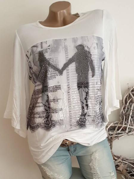XL 42 MISSY Shirt Tunika Pärchenmotiv Glitzer weite Ärmel vorne etwas Tüll