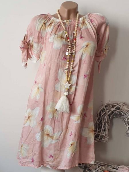 rosa Kleid Tunika off shoulder Carmen 36 38 40 Ärmel zum binden