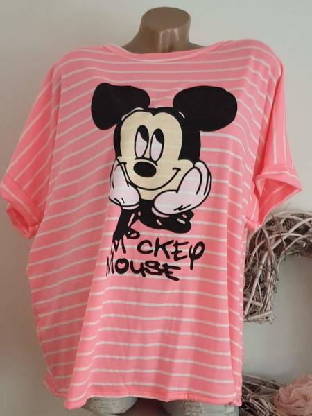 40 42 44 Tunika Ringelshirt Kurzarmshirt Shirt gestreift Mouse Print Viskose