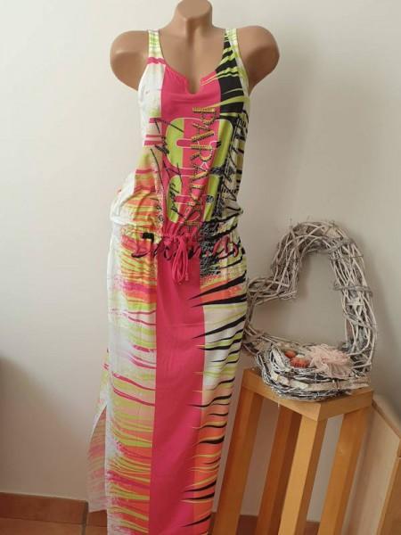 Maxikleid pink neongrün buntes Kleid M 38 MISSY Tunnelzug tiefe Taille bunt