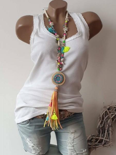 Kette Halskette beige neon bunt Charms Muscheln Hippie Perlen Charms Neu