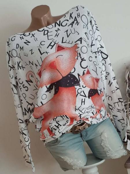 Fledermaus Pullover Katzenprint Feinstrick Pulli Oversize Italy Tunika 38 40 42