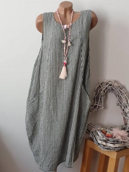 Trägerkleid 42 44 46 ärmelloses Kleid oliv weiss gestreift A-Linie Taschen