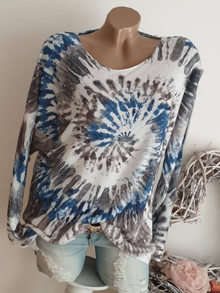Tunika Shirt Dip Dye Batik grau weiss blau Longsleeve 38 40 42 Lurex Kanten