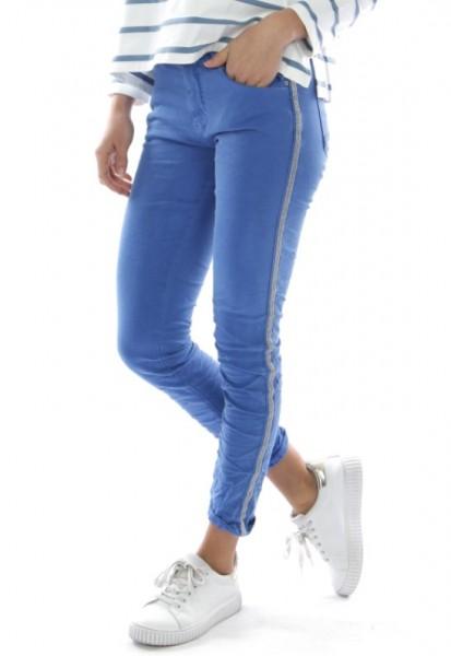 kobaldblau MELLY & CO Hose Skinny XS 34 silber Metall Perlen Streifen Jeans