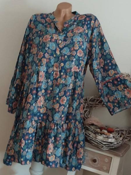 blau buntes Tunika Kleid 38 40 42 44 Knopfleiste Hängerchen Viskose