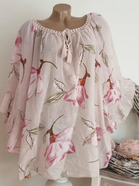 Tunika Bluse 44 46 48 50 weite Ärmel rosa floral Baumwolle Italy