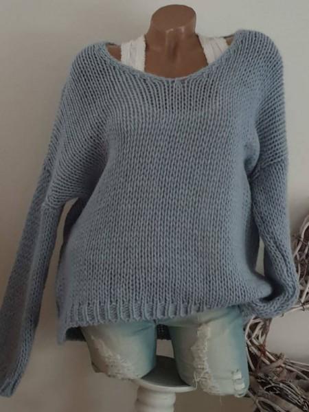 Grobstrick Knit Pulli blau Pullover 40 42 44 oversized Ärmel überschnitten