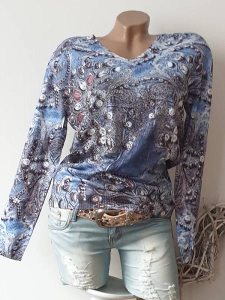 Feinstrickpulli L/XL 40 42 Pulli Pullover Romantik Print jeans blau V-Neck MISSY