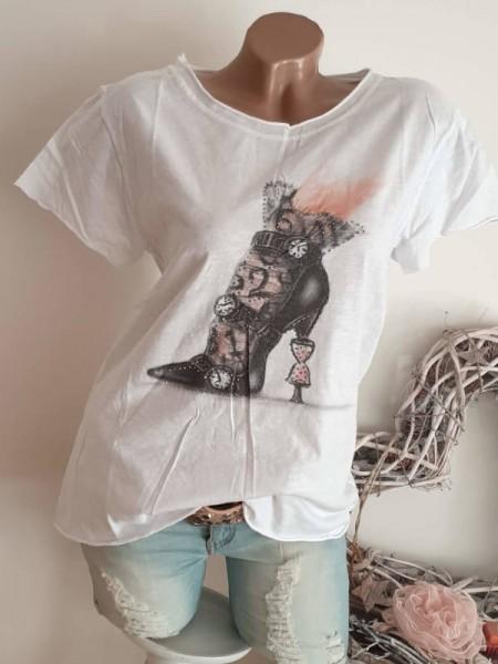T-Shirt Shirt 36 38 40 Tunika weiss Fashionprint Nieten Rollbündchen