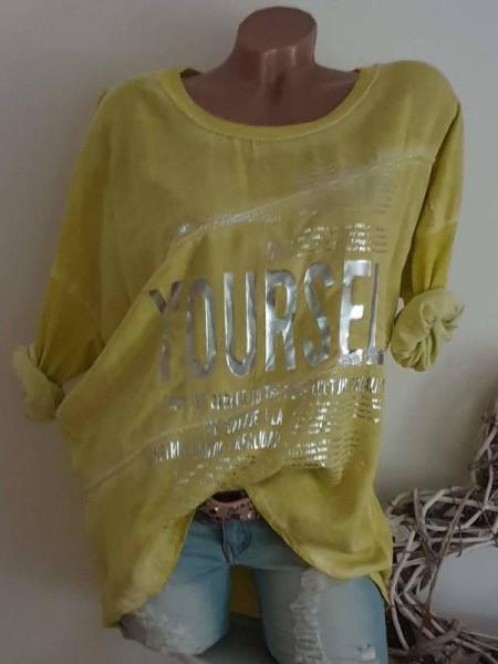 gelb sichtbare Aussennähte Tunika 40 42 44 NEU Metallicprint Mode aus Italien