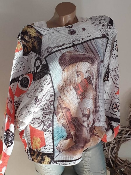 Fledermausärmel Frau mit Zeitschrift Feinstrick Pullover 40 42 44 Print Pulli Tunika