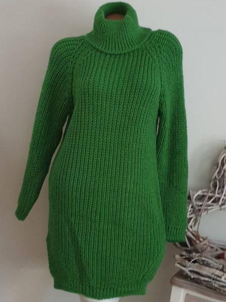 Grobstrick grün Strickkleid Kleid Stiefelkleid 36 38 40 Rollkragenkleid