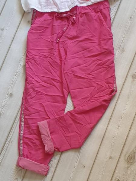 pink Hose 38 40 42 Joggpants neue Frühlingsfarben seitlich Nieten Glitzerband Neu