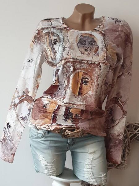 L 40 MISSY Langarmshirt Longsleev Glitzer Nieten Shirt Print Tunika