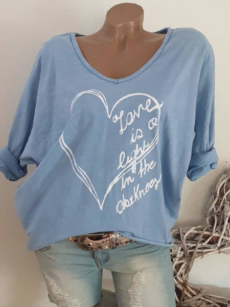Oversize Tunika Longsleeve Print 36 38 40 42 blau hinten länger Baumwolle Italy