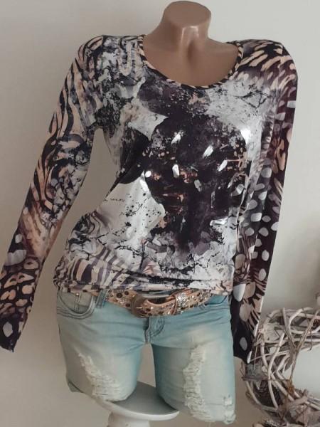 Longsleeve neue Kollektion M 38 MISSY Langarmshirt Shirt Mouse Silber Print