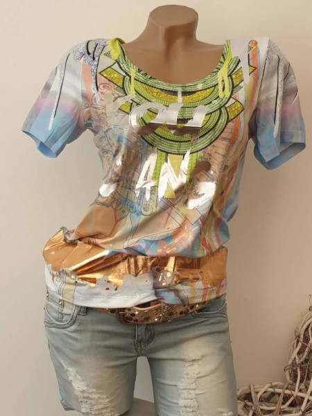 MISSY T-Shirt Shirt S 36 bunt Silber und Gold Print NEU