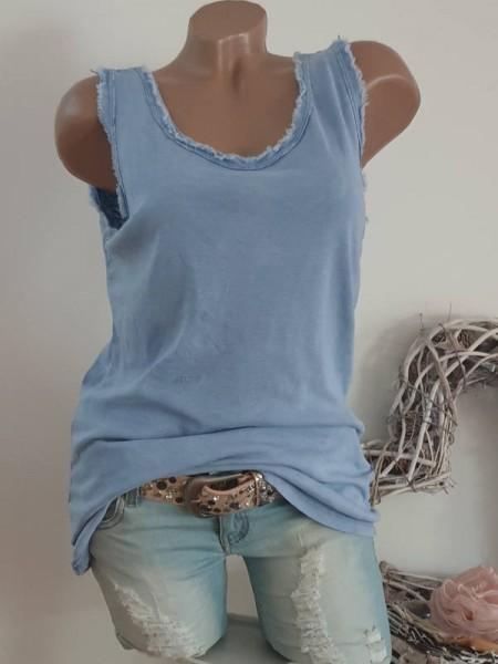 jeansblau Top Shirt 38 40 42 44 Trägertop Baumwolle Longtop unfinished Look