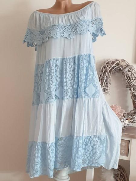 Carmenausschnitt Romantik Tunika Kleid hellblau Lochstickerei 36 38 40