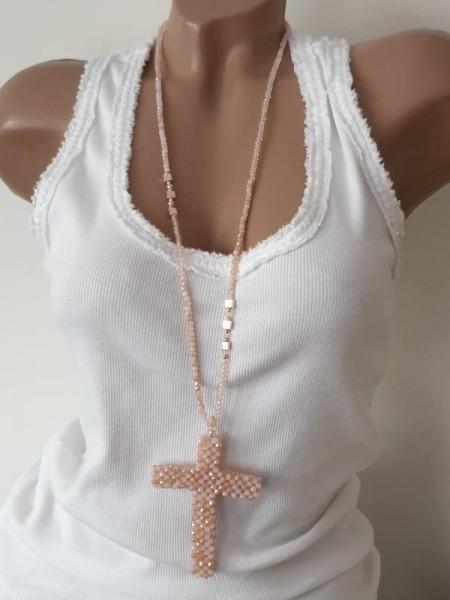 Glasschliffperlen Kette Halskette XL Kreuz rosé Perlen Neu 3D Glasperlenkreuz